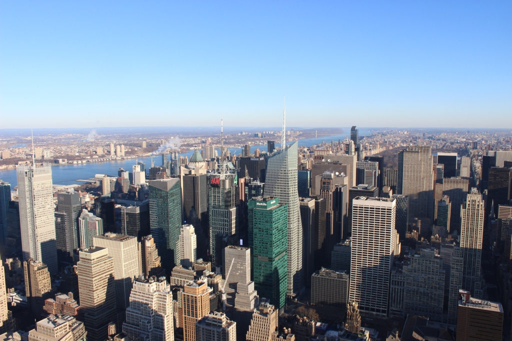 new york city skyline from top of the empire state building
